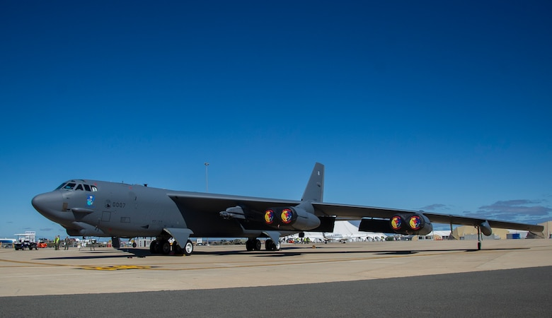 A U.S. Air Force B-52 Stratofortress bomber deployed to Andersen Air Force Base, Guam is parked at the Avalon Airport at Geelong, Victoria, Australia, Feb. 22, 2019.