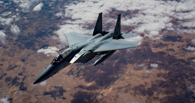 A U.S. Air Force F-15C Eagle flies in support of Combined Joint Task Force – Operation Inherent Resolve Feb. 11, 2019. The tactical fighters are deployed to the U.S. Central Command's area of responsibility to provide stability in the region. U.S. Air Forces Central Command Airmen operate any time, any place and under any conditions in order to maintain air superiority and protect ground forces. (U.S. Air Force photo by Staff Sgt. Clayton Cupit)