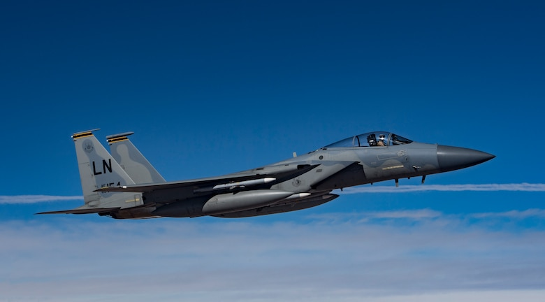 A U.S. Air Force F-15C Eagle flies in support of Combined Joint Task Force – Operation Inherent Resolve Feb. 11, 2019. The tactical fighters are deployed to the U.S. Central Command's area of responsibility to provide stability in the region. The U.S. is postured to defend U.S. forces in the region from any threat. (U.S. Air Force photo by Staff Sgt. Clayton Cupit)