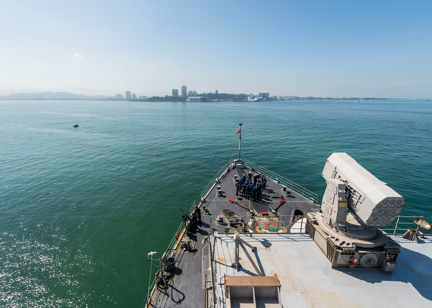 190223-N-WI365-1123 KOTA KINABALU, Malaysia (Feb. 23, 2019) – The amphibious dock landing ship USS Ashland (LSD 48) is anchored out off the coast of Kota Kinabalu, Malaysia. Ashland, part of the Wasp Amphibious Ready Group, with embarked 31st Marine Expeditionary Unit, is operating in the Indo-Pacific region to enhance interoperability with partners and serve as a ready-response force for any type of contingency. (U.S. Navy photo by Mass Communication Specialist 2nd Class Markus Castaneda)