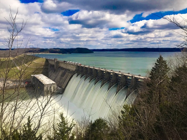 Wolf Creek Dam on the Cumberland River at Lake Cumberland in Jamestown, Ky., discharges water Feb. 24, 2019. The U.S. Army Corps of Engineers Nashville District is increasing the releases today from 45,000 cubic feet per second to 60,000 cfs. (USACE photo by Misty Cravens)