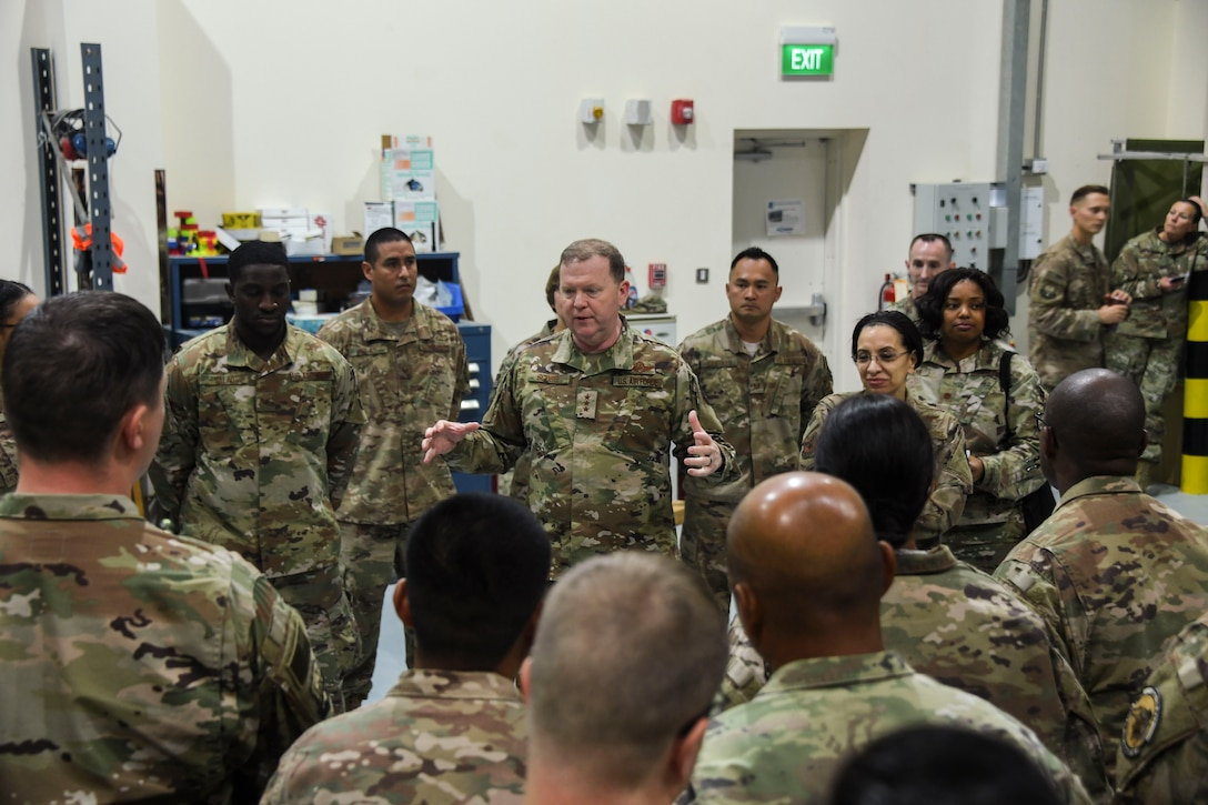 U.S. Air Force Lt. Gen. Richard Scobee, commander U.S. Air Force Lt. Gen. Richard Scobee, commander of Air Force Reserve Command, speaks to 380th Expeditionary Civil Engineer Squadron Airmen during his visit to Al Dhafra Air Base, United Arab Emirates, Feb. 13, 2019.