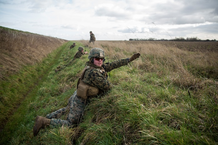 A U.S. Marine with Special Purpose Marine Air-Ground Task Force-Crisis Response-Africa 19.1, Marine Forces Europe and Africa, points out simulated enemy targets during a close-air-support training event with the British Royal Air Force at Holbeach Range, England, Feb. 19, 2019.