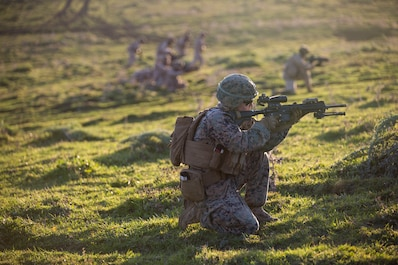A U.S. Marine with Special Purpose Marine Air-Ground Task Force-Crisis Response-Africa 19.1, Marine Forces Europe and Africa, lays down suppressive fire while Spanish marines assault forward during a training event in Sierra De Retin, Spain, Feb. 14, 2019.