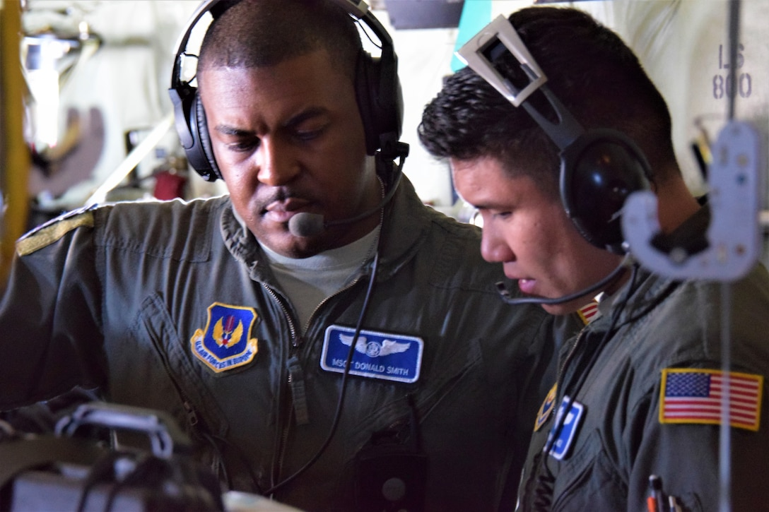U.S Air Force personnel during aeromedical training mission.