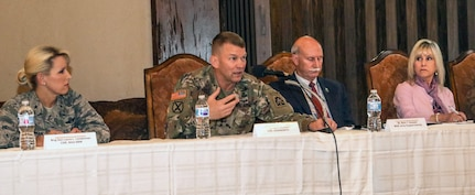 Lt. Gen. Jeffrey S. Buchanan (second from left), U.S. Army North Commander and Senior Army Commander for Joint Base San Antonio-Fort Sam Houston, as well as leaders from JBSA-Fort Sam Houston like Brig. Gen. Laura L. Lenderman (left), 502nd Air Base Wing and JBSA commander, and Lincoln Military Housing officials answer questions and address issues from Soldiers and their families during a town hall meeting at the Lincoln Military Housing Community Center Feb. 21. The town hall was a platform for Soldiers and family members to provide information and gain feedback as part of an ongoing U.S. Army-wide effort to resolve unsatisfactory conditions in Army family housing.