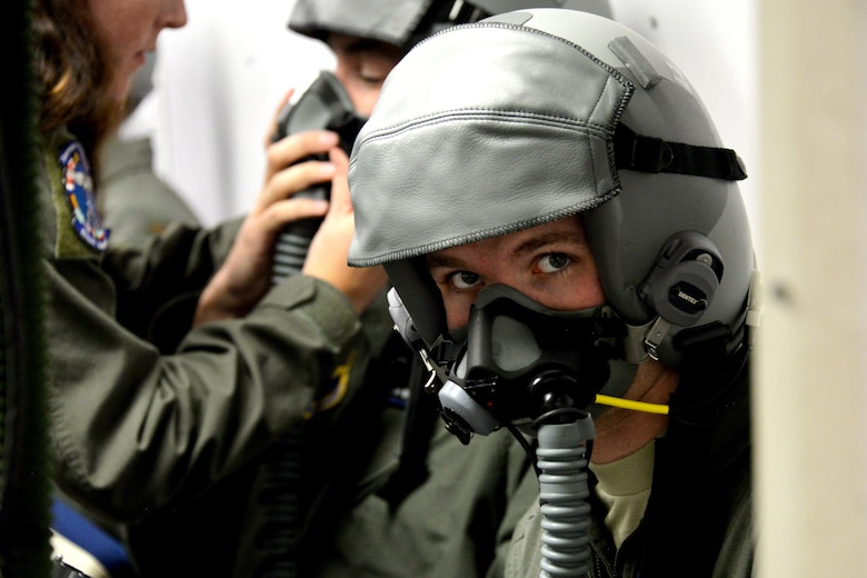 2nd Lt. Luke Piper, a Pilot Training Next 2.0 student, waits to be instructed during a hypobaric chamber flight at Sheppard Air Force Base, Texas, Jan. 28, 2019. Focus areas in the second iteration of PTN include innovation, scaling learning rapidly and collecting, analyzing and using big-data to help drive decision-making. (U.S. Air Force photo by Airman 1st Class Madeleine E. Remillard)