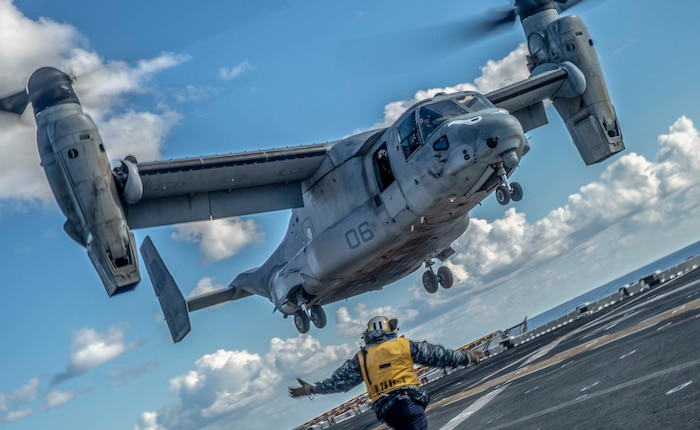 An MV-22 Osprey with Marine Medium Tiltrotor Squadron 163 (Reinforced), 11th Marine Expeditionary Unit, takes off during flight operations aboard the amphibious assault ship USS Boxer. The Marines and Sailors of the 11th MEU are conducting routine training as part of the Boxer Amphibious Ready Group in the eastern Pacific Ocean.