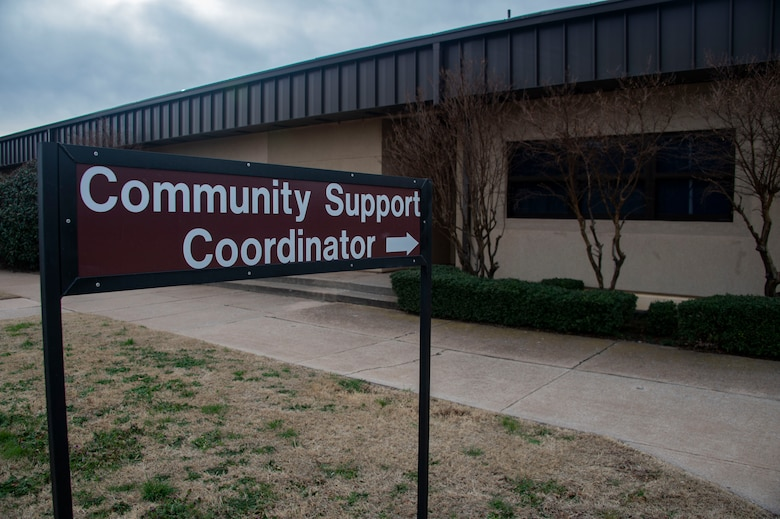 The community support coordinator sign points to the Airmen Resiliency Center