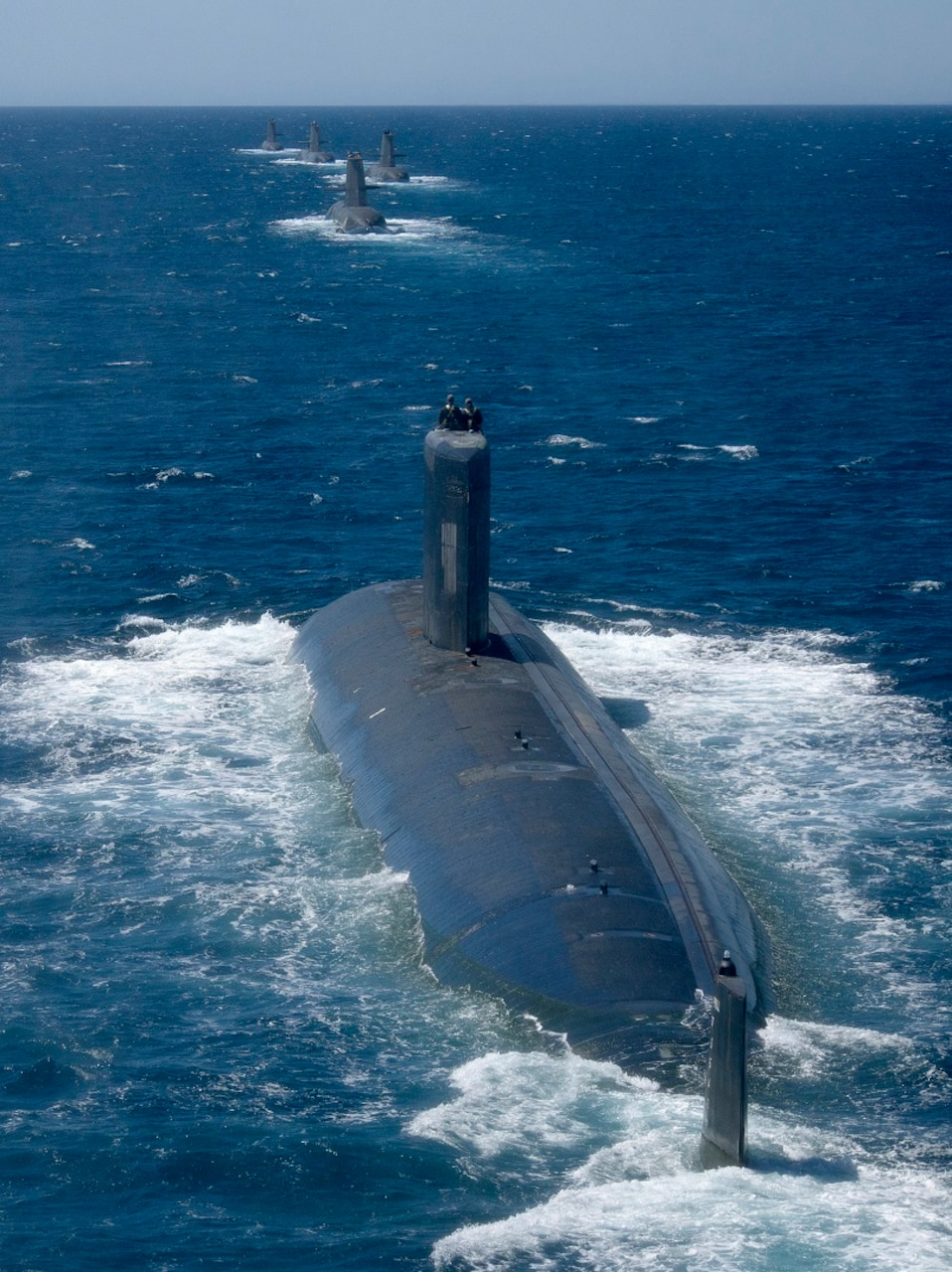 USS Santa Fe (SSN 763) joins Royal Australian Navy Collins Class Submarines HMAS Collins, HMAS Farncomb, HMAS Dechaineux and HMAS Sheean in formation in the West Australian Exercise Area. Royal Australian Navy Collins Class Submarines HMAS Collins, HMAS Farncomb, HMAS Dechaineux and HMAS Sheean were joined in formation by United States Navy Submarine USS Santa Fe in the West Australian Exercise Area for a PHOTOEX in February 2019. The submarines were in the area to participate in a number of activities, including Exercise Lungfish 2019 and Exercise Ocean Explorer 2019.