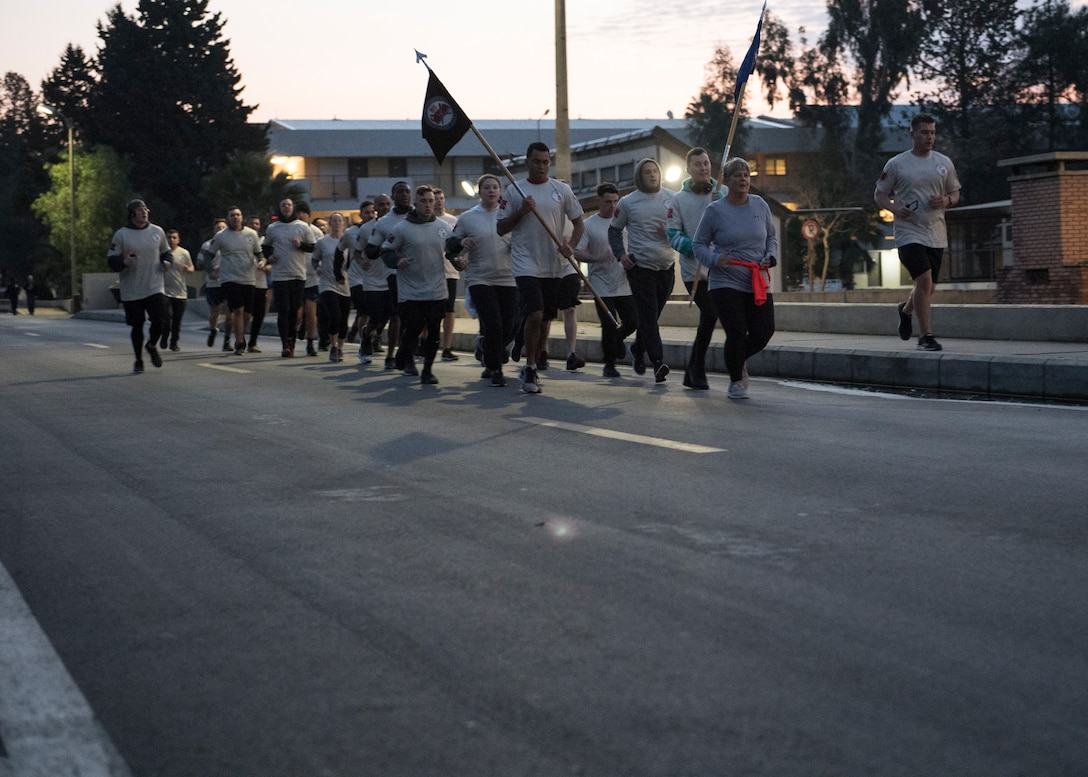 U.S. Air Force Chief Master Sgt. Sherrie Lewis, 39th Mission Support Group superintendent, leads Airman Leadership School Class 19-C during the Four Chaplains' Run Feb. 22, 2019, at Incirlik Air Base, Turkey.