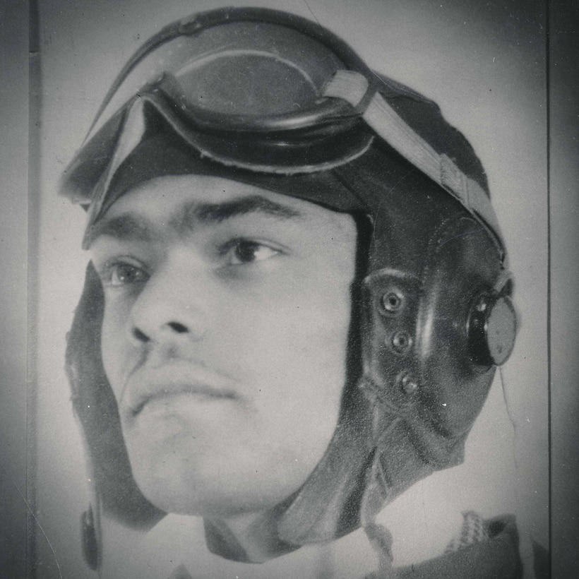 Franklin Macon poses for his official portrait as a Tuskegee Airman