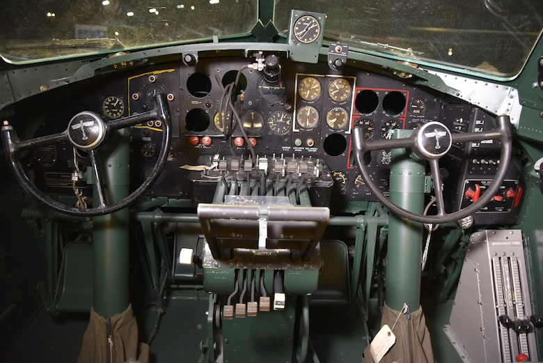 DAYTON, Ohio -- Cockpit view of the Boeing B-17F Memphis Belle on Nov. 18, 2018 at the National Museum of the U.S. Air Force. The cockpit was still undergoing restoration at the time this photo was taken. (U.S. Air Force photo by Ken LaRock)