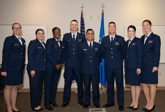 Seven newly commissioned Airmen graduated from the Air Battle Manager training program at Tyndall Air Force Base, Fla., Feb. 22, 2019. Air Battle Managers' primary responsibility includes providing command and control in battle and ensuring combat aircraft find, identify and destroy their targets.