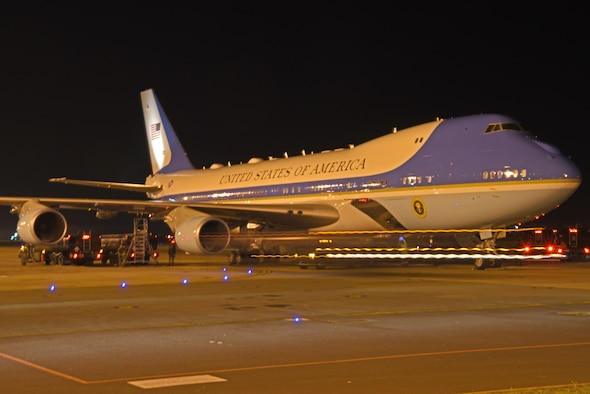 Air Force One receives fuel during a stop at RAF Mildenhall, England, Feb. 26, 2019. Air Force One, carrying President Donald J. Trump and a contingency of White House officials and media members, received fuel and logistical support before continuing on the journey to Hanoi, the capital city of Vietnam, for the president's second summit North Korean leader Kim-Jong Un. (U.S. Air Force photo by Airman 1st Class Brandon Esau)