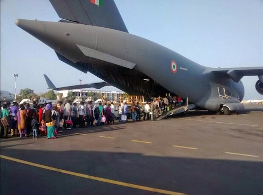 Indian Air Force evacuated Indian citizens and foreign nationals from Yemen 2015