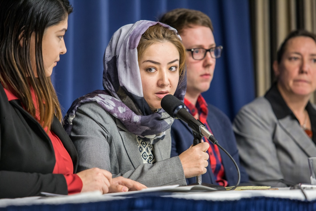 Uyghur woman, a former detainee in China, testifying in Wahsington, DC