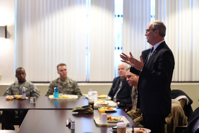 Senator Kevin Cramer greets a crowd of Airmen over breakfast February 22, 2019, on Grand Forks Air Force Base, North Dakota. Cramer answered questions from the participants, who were curious about future Air Force priorities, strategic education goals and technological advancement. (U.S. photo by Senior Airman Elora J. Martinez)