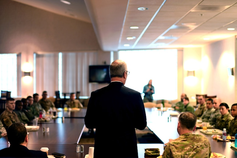 Senator Kevin Cramer stands beside Col. Benjamin Spencer, 319th Air Base Wing commander, right, during a breakfast with Airmen February 22, 2019, on Grand Forks Air Force Base, North Dakota. The Airmen who attended the event got the chance to learn more about Cramer and ask him questions regarding his upcoming priorities for policies. (U.S. Air Force photo by Senior Airman Elora J. Martinez)