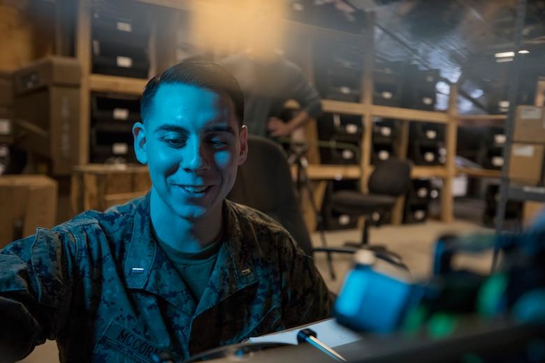 U.S. Marine Corps 1st Lt. Ryan McCormic, the motor transport officer with 2nd Battalion, 7th Marine Regiment, 1st Marine Division, showcases 3D printing capabilities at Marine Corps Air Ground Combat Center, Twentynine Palms, Calif., Feb. 19, 2018.