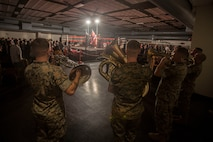 Marines with the U.S. Marine Corps Forces, Pacific, band perform during the opening ceremony of the Pearlside Boxing Club event, Marine Corps Base Hawaii, Feb. 23, 2019. The boxing event was hosted at the Kahuna's Bar and Grill ballroom and featured multiple boxing clubs from across the islands of Hawaii. (U.S. Marine Corps photo by Cpl. Matthew Kirk)