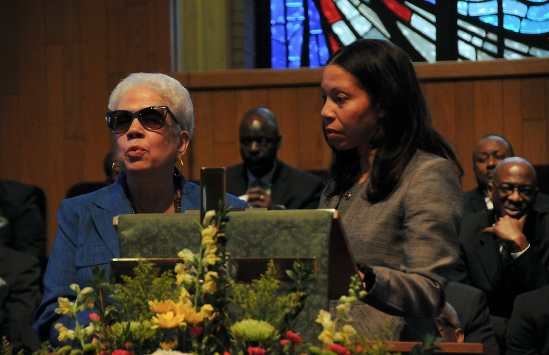Marla L. Andrews (left), daughter of U.S. Army Air Forces Capt. Lawrence E. Dickson, delivers remarks during a Feb. 24 ceremony held at Fountain Baptist Church in Summit, New Jersey, to recognize her father's military service. Dickson was a Tuskegee Airman declared missing in action after his plane crashed in Europe in December 1944. Dickson's remains were identified in November 2018 using the latest DNA tests, making him the first to be identified out of more than two-dozen Tuskegee Airmen declared MIA during World War II.