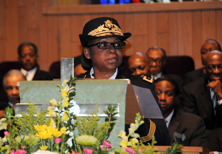 Brig. Gen. Twanda E. Young, deputy commanding general of the U.S. Army's Human Resources Command, delivers remarks during a Feb. 24 ceremony held at Fountain Baptist Church in Summit, New Jersey, to recognize U.S. Army Air Forces Capt. Lawrence E. Dickson's military service. Dickson was a Tuskegee Airman declared missing in action after his plane crashed in Europe in December 1944. Dickson's remains were identified in November 2018 using the latest DNA tests, making him the first to be identified out of more than two-dozen Tuskegee Airmen declared MIA during World War II.