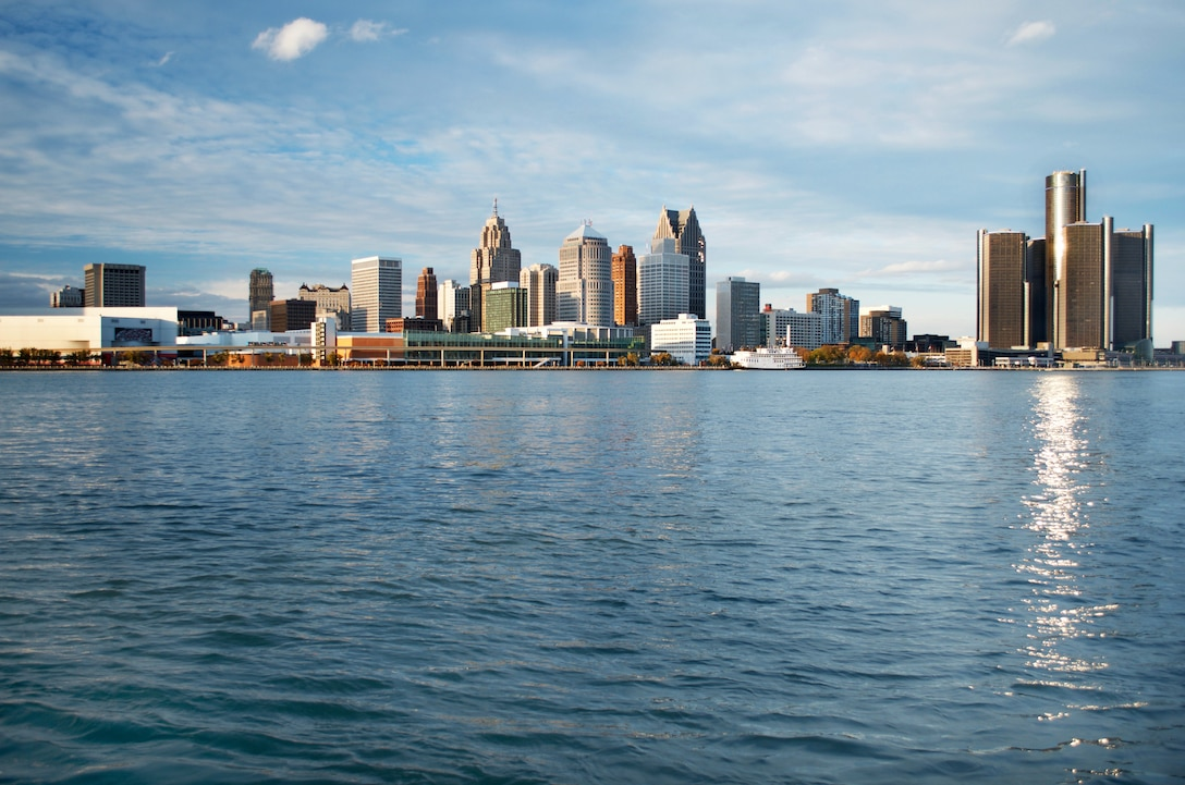 Daytime shot from across the Detroit River taken from Canada of the Detroit Skyline.
