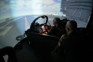 Simulated flight training.