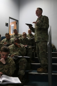 Sgt. 1st Class Timothy Donahue, an instructor/writer with the Recruiting and Retention College, teaches a Department of the Army retention training course at Ft. Stewart, Ga., Feb. 9, 2019.
