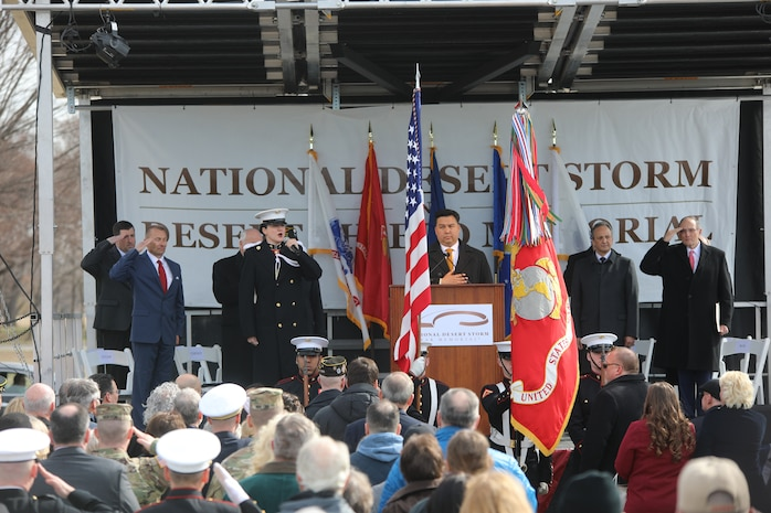 "On Feb. 26, 2019, the U.S. Marine Band participated in the National Desert Storm and Desert Shield Memorial site dedication ceremony, located on the National Mall. Speakers included the former Vice President of the United States, Dick Cheney; Scott Stump, President and CEO of National Desert Storm War Memorial Association; Congressman Phil Roe, M.D. (R-Tenn.), Lieutenant Governor Jenean Hampton (R-Ky.), General Charles Albert ""Chuck"" Horner, USAF, (ret.); The Honorable Edward ""Skip"" Gnehm, Ambassador of the United States of America to Kuwait (1991); His Excellency Abdullah Al-Jaber Al-Sabah, the Ambassador of the State of Kuwait. (U.S. Marine Corps photo by Master Sgt. Amanda Simmons/released) More info about the site: http://www.ndswm.org/"