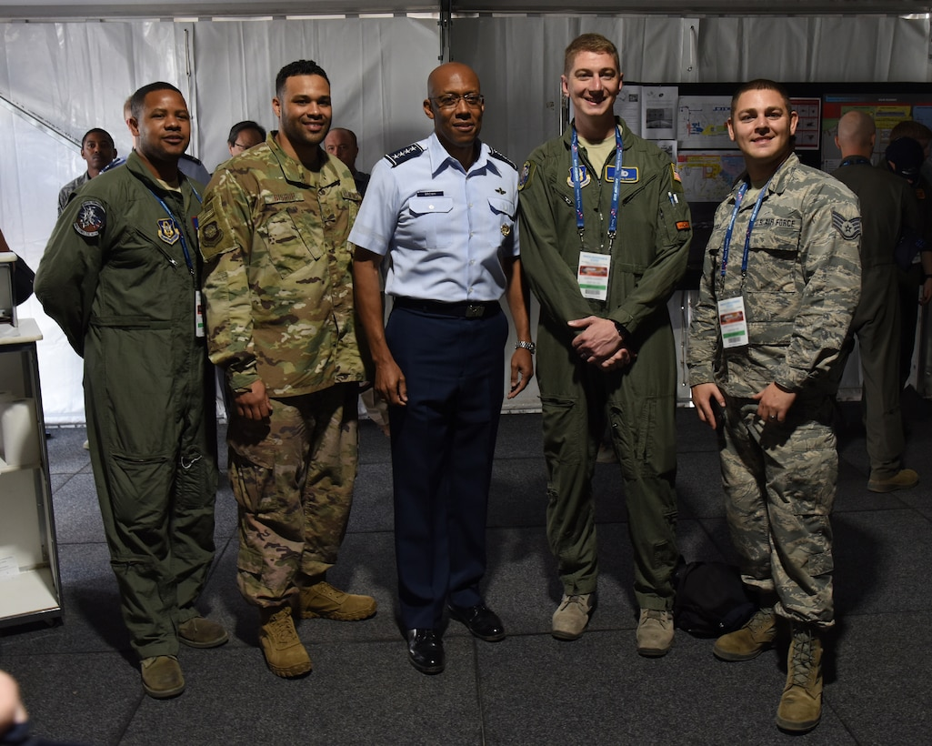 U.S. Air Force Gen. CQ Brown, Jr., Pacific Air Forces commander, poses for a photo with a group of Airmen at Geelong, Victoria, Australia, Feb. 26, 2019.