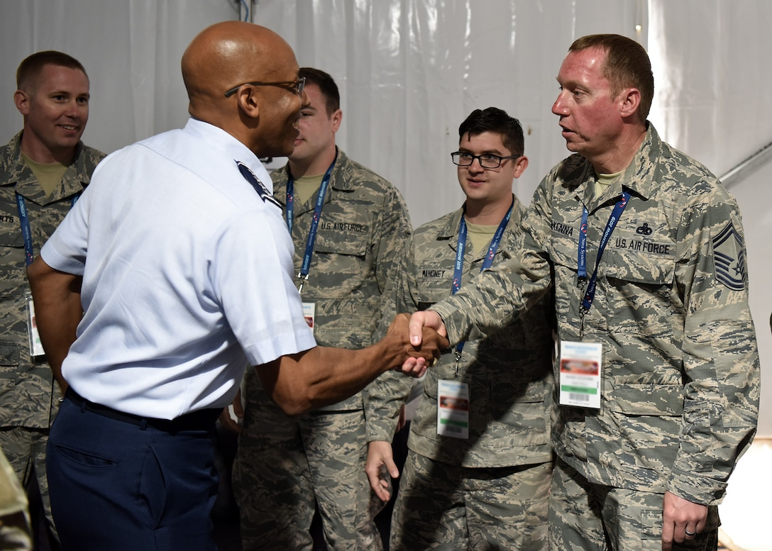 U.S. Air Force Gen. CQ Brown, Pacific Air Forces commander, speaks to Airmen participating in the 2019 Australian International Aerospace & Defence Exposition and Airshow at Geelong, Victoria, Australia, Feb. 26, 2019.