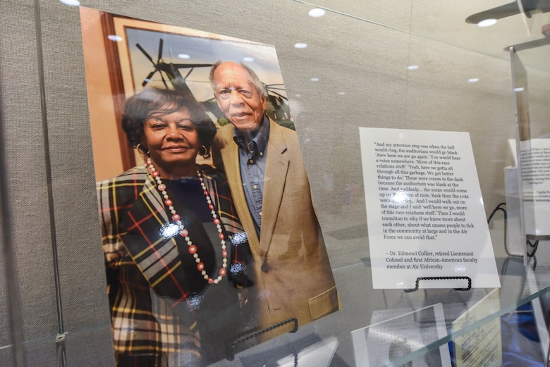 """Dr. Edmond Collier, retired lieutenant colonel and first African – American faculty member at Air University, and his wife, Alma, are featured in the """"Maxwell and the Movement"""" exhibit at the Muir S. Fairchild Research Information Center, Feb. 21, 2019, Maxwell Air Force Base, Alabama. Collier's impact on Air University's history was validated with his inclusion in the exhibit, Collier and his wife both said that they greatly enjoyed their time at AU. (U.S. Air Force photo by Senior Airman Alexa Culbert)"""