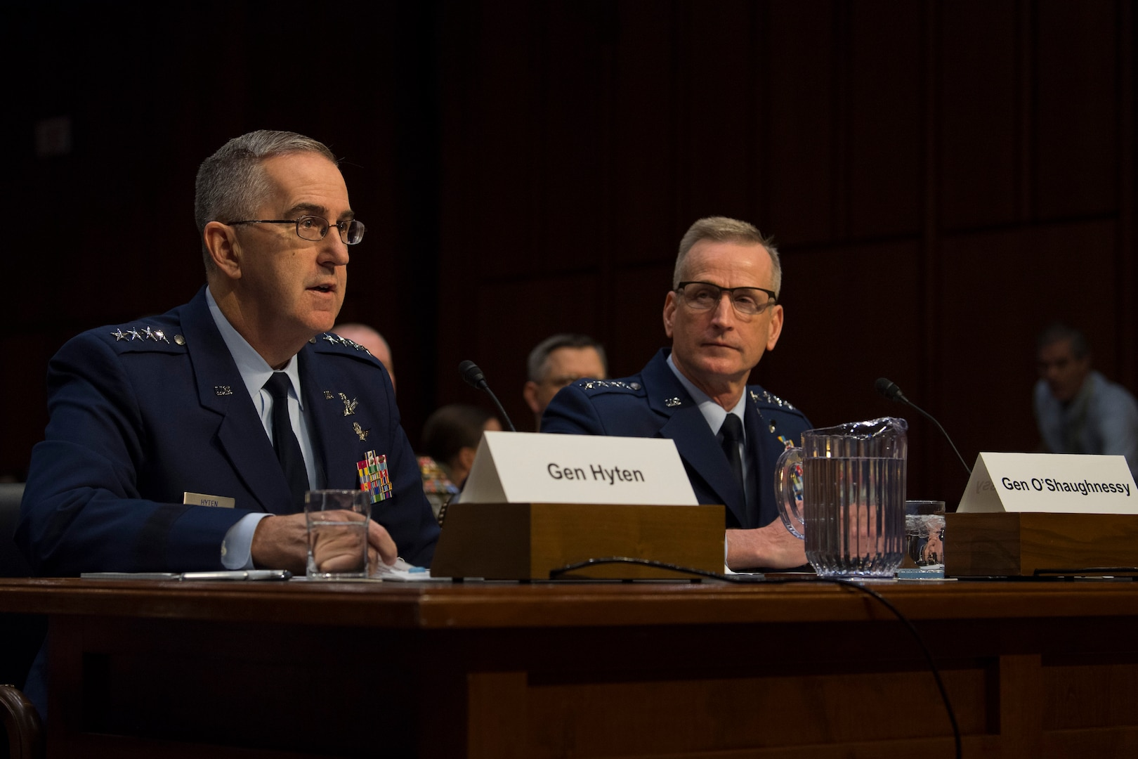 U.S. Strategic Command Commander Gen. John E. Hyten, and U.S. Northern Command and North American Aerospace Defense Command Commander Gen. Terrence J. O'Shaughnessy testify before the U.S. Senate Committee on Armed Services  on United States Strategic Command and United States Northern Command in review of the Defense Authorization Request for Fiscal Year 2020 and the Future Years Defense Program at the Hart Senate Building in Washington, D.C., Feb. 26, 2019.