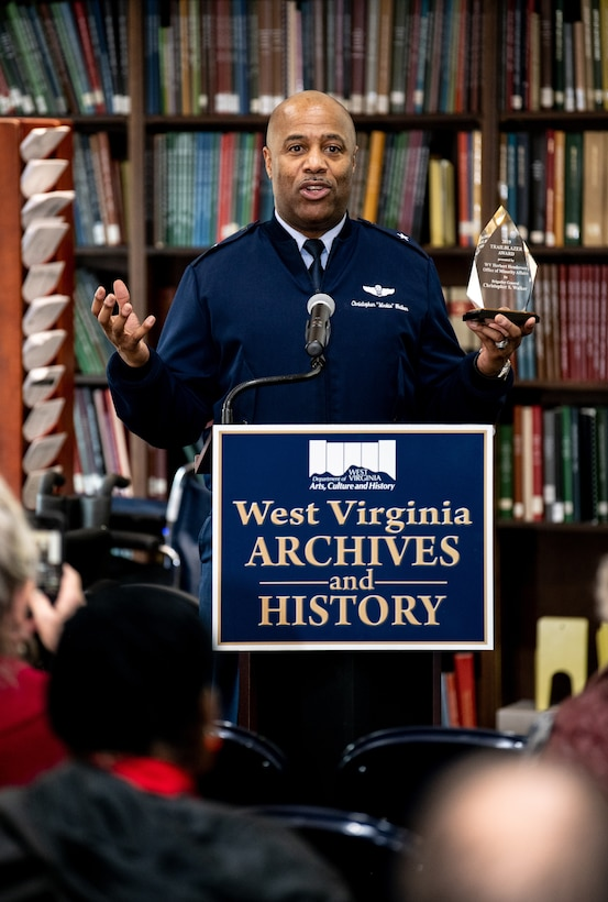 """Brig. Gen. Christopher """"Mookie"""" Walker, Assistant Adjutant General - Air, gives a speech following his receipt of the inaugural West Virginia Herbert Henderson Office of Minority Affairs (HHOMA) Trailblazer Award during a Black History Month ceremony held at the West Virginia Division of Arts, Culture, and History Cultural Center in Charleston, W.Va., Feb. 23, 2019. The Trailblazer Award is meant to honor those West Virginians within minority communities that exhibit a life of excellence. (U.S. Army National Guard photo by Edwin L. Wriston)"""