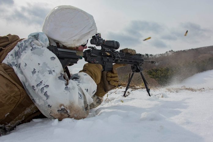 U.S. Marine Corps Lance Cpl. Mitchell Bowen, a rifleman with 1st Battalion, 3rd Marine Regiment, 3rd Marine Division, fires at targets during a live-fire drill, in the Ojojihara Maneuver Area, Miyagi Prefecture, Japan, Feb. 15, 2019.