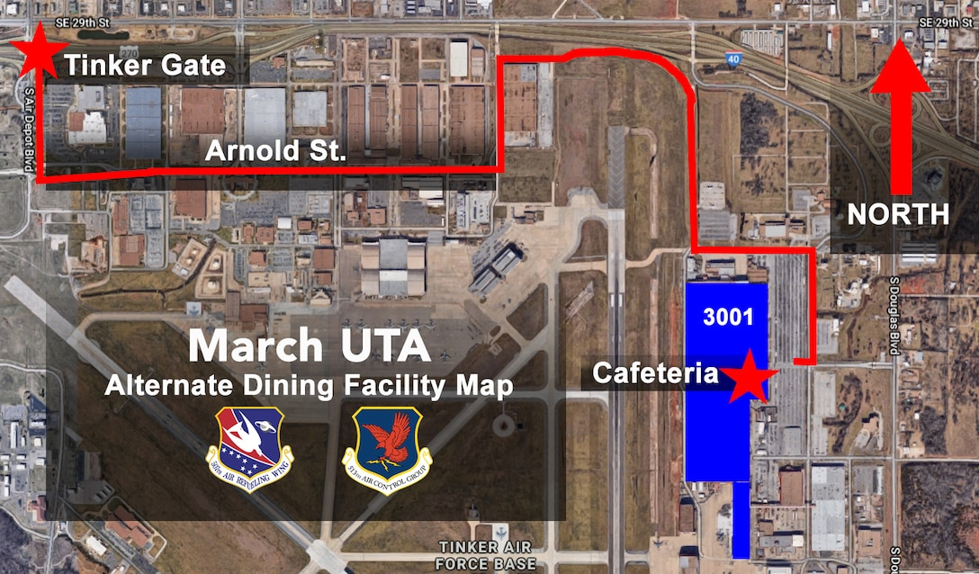 During the March Unit Training Assembly March 2-3, 2019, Reservists at Tinker Air Force Base, Oklahoma, will receive their meals at the Bldg. 3001 Cafeteria. (U.S. Air Force image by Lauren Gleason)