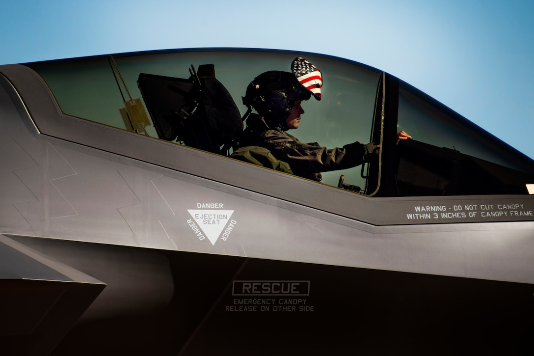 Lt. Col. Maxwell Cover, assigned to the 388th Fighter Wing at Hill Air Force Base, Utah, taxis during Forward Area Refueling Point training at Cannon Air Force Base, N.M., Feb. 26, 2019. This was the first time FARP training was conducted by an MC-130J for the F-35A aircraft as it expands its reach and capabilties. (U.S. Air Force photo by Staff Sgt. Luke Kitterman)