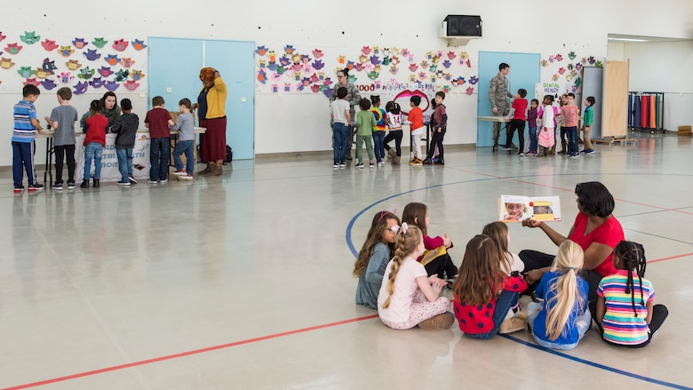 Sollars Elementary School children attend a National Dental Health Month workshop at Misawa Air Base, Japan, Feb. 26, 2019. Dental professionals hosted a variety of workshops regarding healthy eating habits, flossing techniques and teeth brushing. (U.S. Air Force photo by Airman 1st Class Collette Brooks)