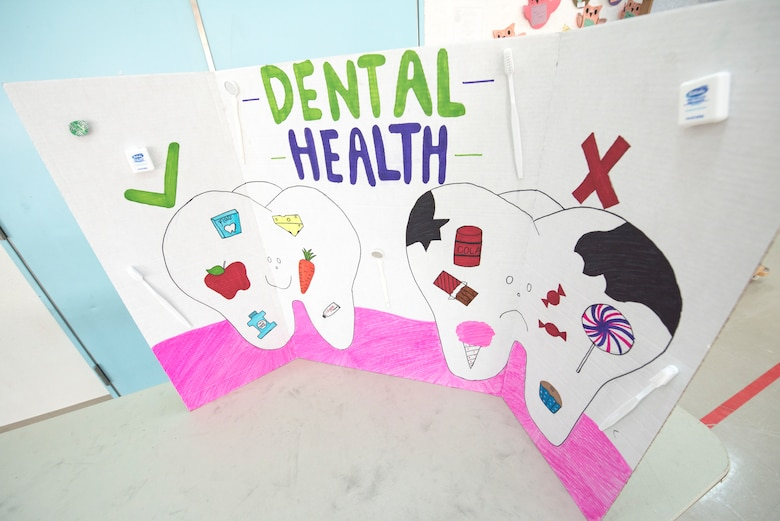 The 35th Dental Squadron displays a dental health board during a National Dental Health Month workshop at Misawa Air Base, Japan, Feb. 26, 2019. While a heightened perception of dentistry was one of many goals during this event, the dental professionals also sought to mitigate oral nuisances like cavities. (U.S. Air Force photo by Airman 1st Class Collette Brooks)