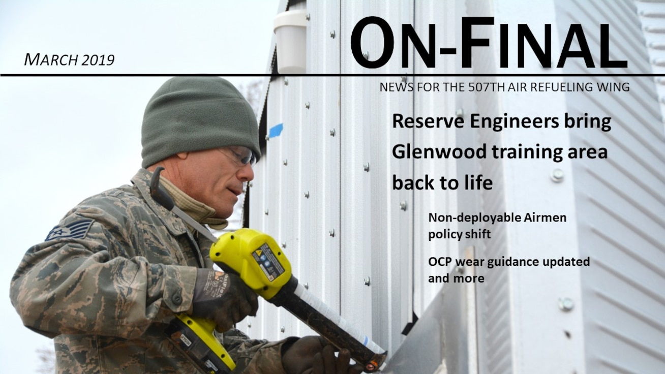 Tech. Sgt. Lyndon Jones, 507th Civil Engineer Squadron, works on the final touches of one of three new Quonset huts at the Glenwood training area at Tinker Air Force Base, Oklahoma, February 26, 2019. Reserve Citizen Airmen partnered with the 72nd Air Base Wing to build the huts and repair some damaged facilities at the training area. The new Quonset huts are more permanent and cost-effective, and are fully equipped with electric, heating and air. The improvements will make on-site readiness training exercises more efficient, according to members of the wing inspection team. (U.S. Air Force photo by Maj. Jon Quinlan)