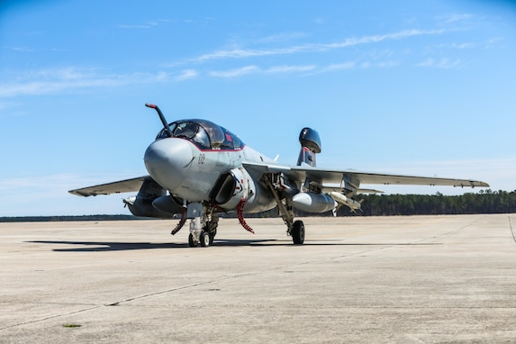 A U.S. Marine Corps EA-6B Prowler taxis down the flight line at Marine Corps Air Station Cherry Point, North Carolina, Feb. 26, 2019. Marine Tactical Electronic Warfare Squadron (VMAQ) 2 flew the aircraft in preparation for their final flight as the last remaining Prowler squadron in the Marine Corps. The aircraft is assigned to VMAQ-2, Marine Aircraft Group 14, 2nd Marine Aircraft Wing. (U.S. Marine Corps photo by Cpl. Jered T. Stone)