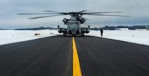 A U.S. Marine Corps CH-53E Super Stallion prepares for take-off in Brunswick, Maine, Feb. 15, 2019.