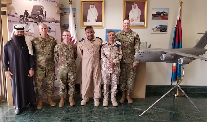 Members of the Qatar Emiri Air Force (QEAF) and the West Virginia National Guard pose for a photo Feb. 14, 2019, while touring the QEAF facilities at Al Udeid Air Base, Qatar.