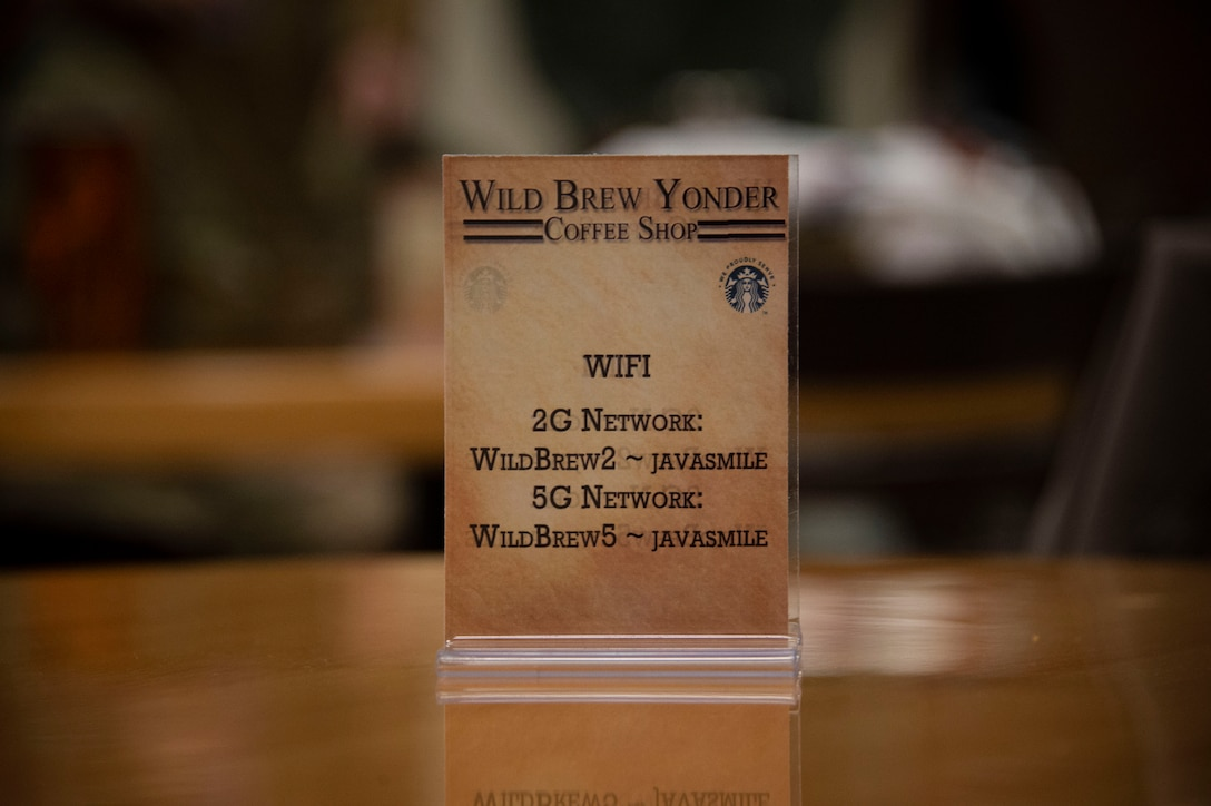 A placard for the Wild Brew Yonder coffee shop is placed on a table, Feb. 29, 2019 at Altus Air Force Base, Okla.