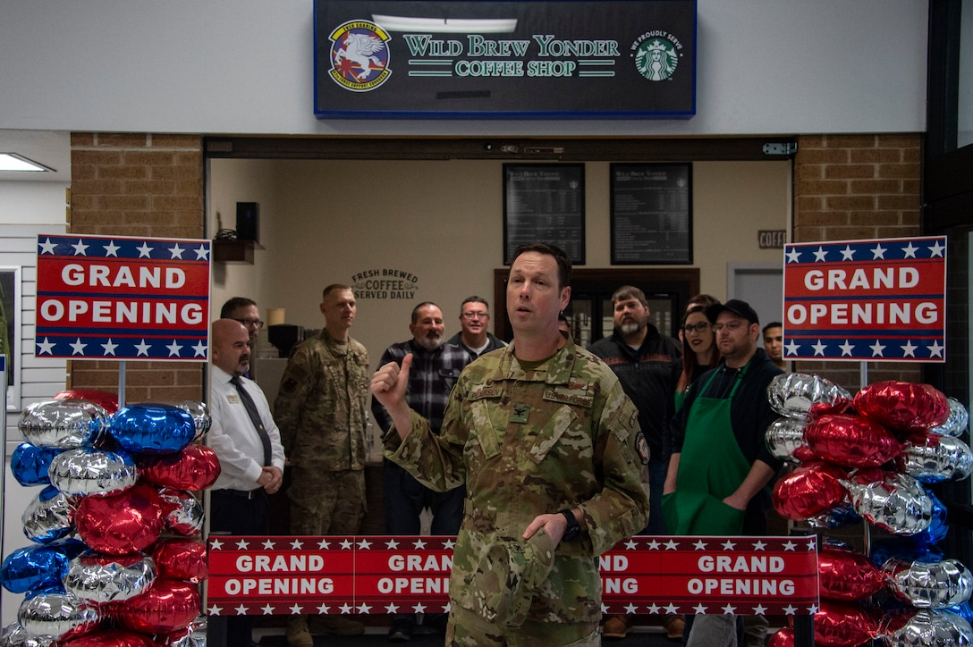U.S. Air Force Col. Robert Pedersen, 97th Mission Support Group commander, talks about the efforts taken to open the new Wild Brew Yonder coffee shop, Feb. 29, 2019 at Altus Air Force Base, Okla