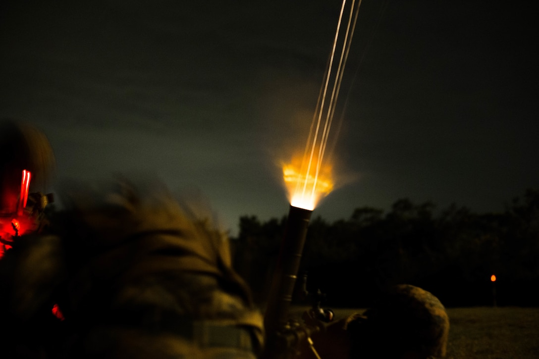 U.S. Marines with Tactical Readiness Training Platoon, Combat Logistics Regiment 37, 3rd Marine Logistics Group, fire a 60 mm mortar round at Range 10, Camp Schwab, Okinawa, Japan on Feb. 26, 2019. TRT Platoon fired the M224 60 mm mortar system to maintain proficiency in order to remain combat ready for worldwide deployments.