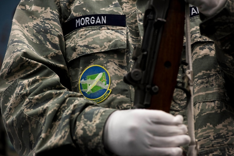 Civil Air Patrol Cadet Ezekiel Morgan, 21st Fairchild Composite Squadron, holds a rifle as part of training with the 92nd Air Refueling Wing base honor guard at Fairchild Air Force Base, Washington, Feb. 26, 2019. CAP promotes aviation and related education fields through aerospace and Science Technology Engineering and Mathematics education to help shape future leaders. (U.S. Air Force photo by Airman 1st Class Lawrence Sena)