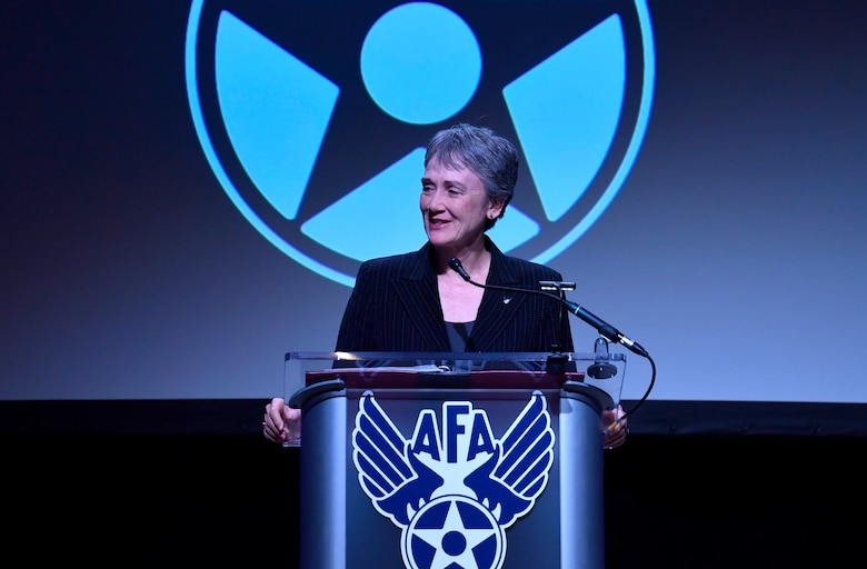 Secretary of the Air Force Heather Wilson gives remarks during the Air Force Association's Air, Space and Cyber Conference in Orlando, Fla., Feb. 28, 2019. (U.S. Air Force photo by Wayne Clark)